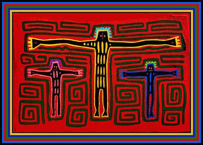 Kuna Indian Folk Art Crucifix Poster by Vagabond Folk Art - Virginia Vivier