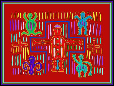 Poster featuring the digital art Kuna Indian Mola Crucifix by Vagabond Folk Art - Virginia Vivier