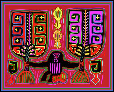 Poster featuring the digital art Kuna Indian Mola Man With Fans by Vagabond Folk Art - Virginia Vivier