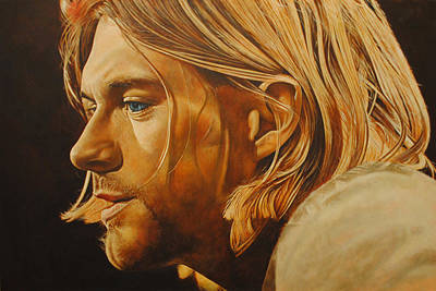 Poster featuring the painting Kurt Cobain Unplugged by David Dunne