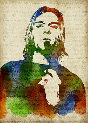 Kurt Cobain Watercolor Poster by Mihaela Pater