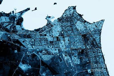 Kuwait City Abstract City Map Top View Dark Poster by Frank Ramspott
