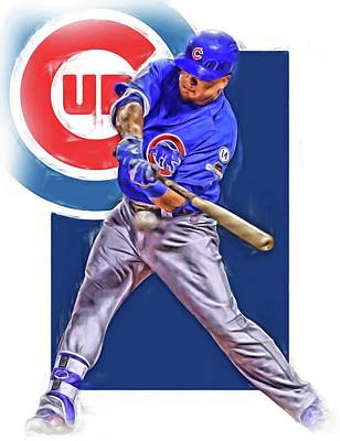 Kyle Schwarber Chicago Cubs Oil Art Poster by Joe Hamilton