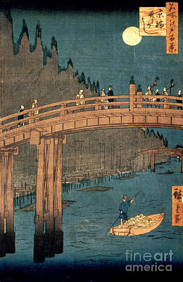 Kyoto Bridge By Moonlight Poster by Hiroshige
