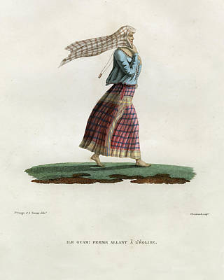 L Ile Guam Femme Allant A  L Eglise Poster by Jacques Arago