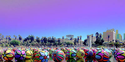 Poster featuring the photograph Los Angeles Glows In The Spheres Of Macarthur Park by Lorraine Devon Wilke
