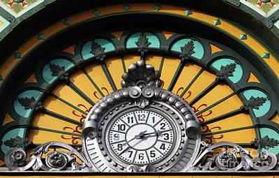 La Concordia Railway Station Clock Detail Bilbao Poster by James Brunker
