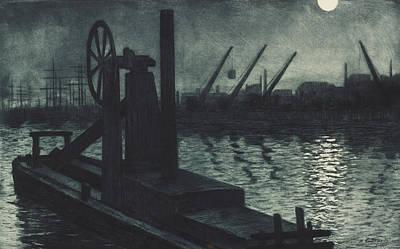 La Drague De Dieppe Poster by Henri Charles Guerard