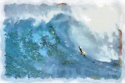 La Jolla Big Surf Poster by Russ Harris