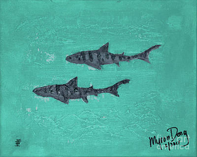La Jolla Leopard Sharks Poster by Myron Dong