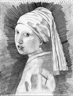 Girl With A Pearl Earring Poster by Cerna Painter-