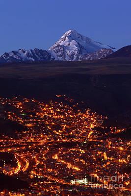 La Paz Suburbs And Mt Huayna Potosi Poster