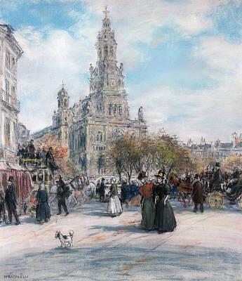 La Place De Trinite Poster by Jean Francois Raffaelli