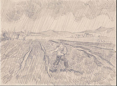 La Pluie Enclosed Field With A Sower In The Rain 1890 Poster by Vincent Van Gogh