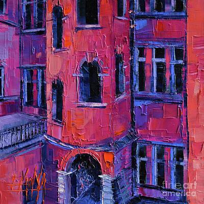 La Tour Rose Modern Impressionist Palette Knife Oil Painting Poster