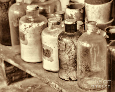 Lab Bottles Sepia Poster