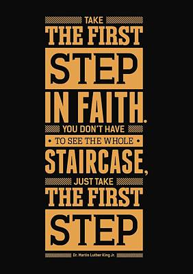 Lab No. 4 Take The First Step Martin Luther King Jr. Motivational Quote Poster