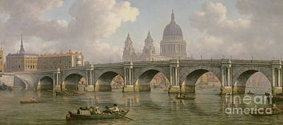 Blackfriars Bridge And St Paul's Cathedral Poster by William Marlow