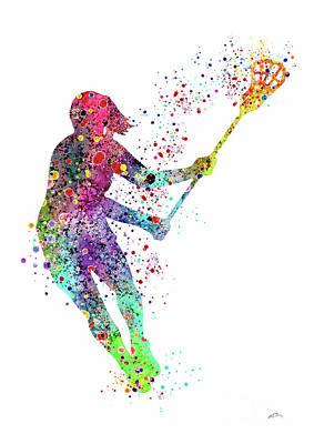 Lacrosse Girl Player Sports Art Print Watercolor Print Girl's Lacrosse Illustration Lacrosse Art Pos Poster