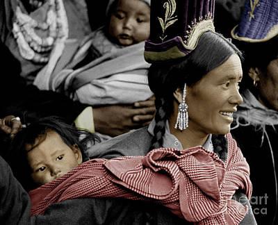 Ladakhi Mother And Child - Tikse Monastery, Ladakh Poster by Craig Lovell
