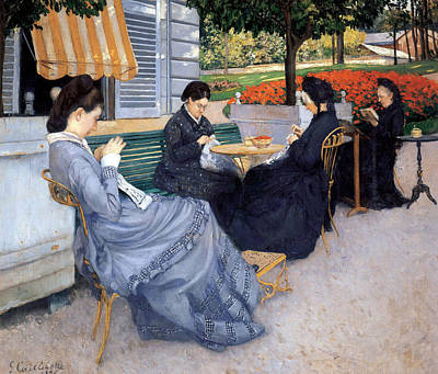 Ladies Sewing Poster by Gustave Caillebotte