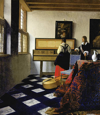 Lady At The Virginal With A Gentleman Poster by Jan Vermeer