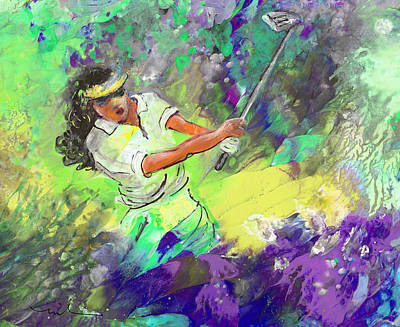 Lady Golf 06 Poster by Miki De Goodaboom
