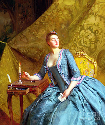 Lady In An Interior Poster by Gustave Jacquet