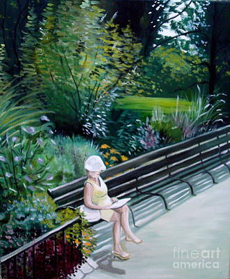Poster featuring the painting Lady In Central Park by Elizabeth Robinette Tyndall