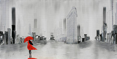 Lady In Red Dress And Red Umbrella Walking Alone Through A New Y Poster