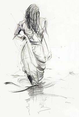 Poster featuring the drawing Lady In The Waters by Kerryn Madsen-Pietsch