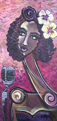 Poster featuring the painting Lady Lauren Midnight Singer by Laurie Maves ART