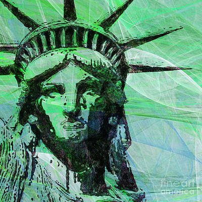 Lady Liberty Head 20150928 Square P100 Poster by Wingsdomain Art and Photography