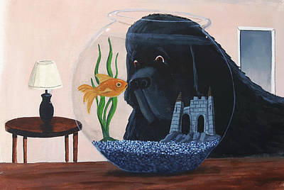 Lady Looks In The Fish Bowl For Mommy And Daddy Poster