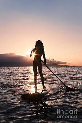 Lady Paddling Poster by Dave Fleetham - Printscapes