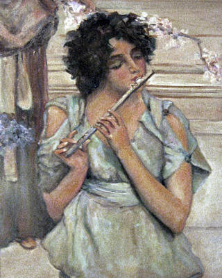 Lady Playing Flute Poster by Donna Tucker