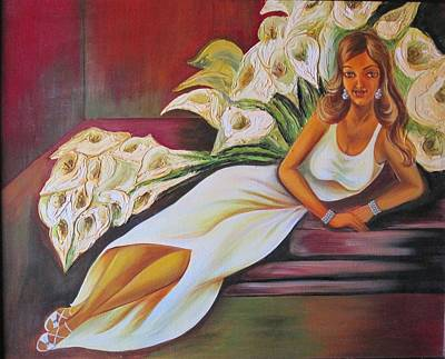 Lady Relaxing With Cala Lilies Poster by Xafira Mendonsa