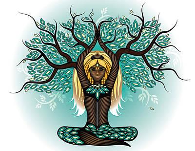 Lady Shaman Tree Poster