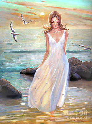 Lady Walking On The Beach Poster