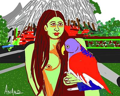 Lady With Parrot Poster by Anand Swaroop Manchiraju