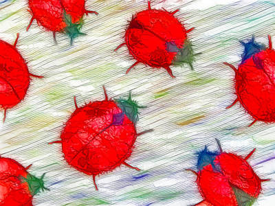 Ladybug Seamless Pattern Poster by Lanjee Chee