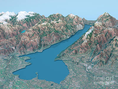 Lago Di Garda Topographic Map 3d Landscape View Natural Color Poster by Frank Ramspott