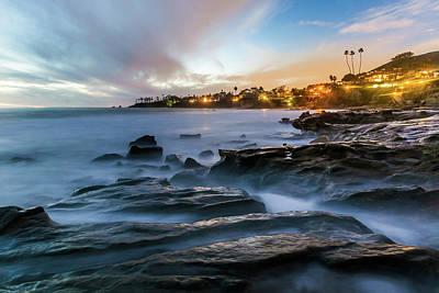 Poster featuring the photograph Laguna Beach After Dark by Cliff Wassmann