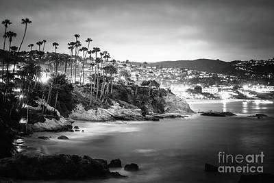 Laguna Beach At Night Black And White Picture Poster by Paul Velgos