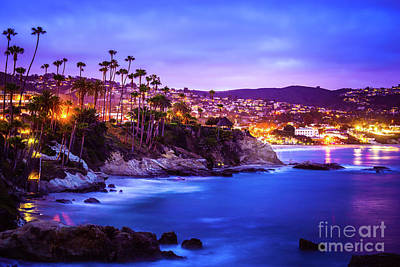 Laguna Beach California City At Night Picture Poster by Paul Velgos