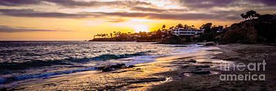 Laguna Beach California Sunset Panorama Photo Poster by Paul Velgos
