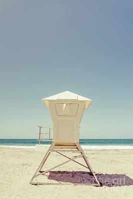 Laguna Beach Lifeguard Tower Retro Photo Poster