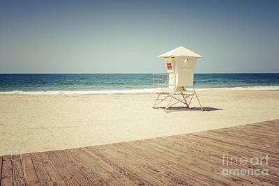 Laguna Beach Lifeguard Tower Vintage Picture Poster by Paul Velgos
