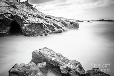 Laguna Beach Rock Formations Black And White Picture Poster by Paul Velgos