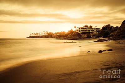 Laguna Beach Sunset At Shaw's Cove Poster by Paul Velgos